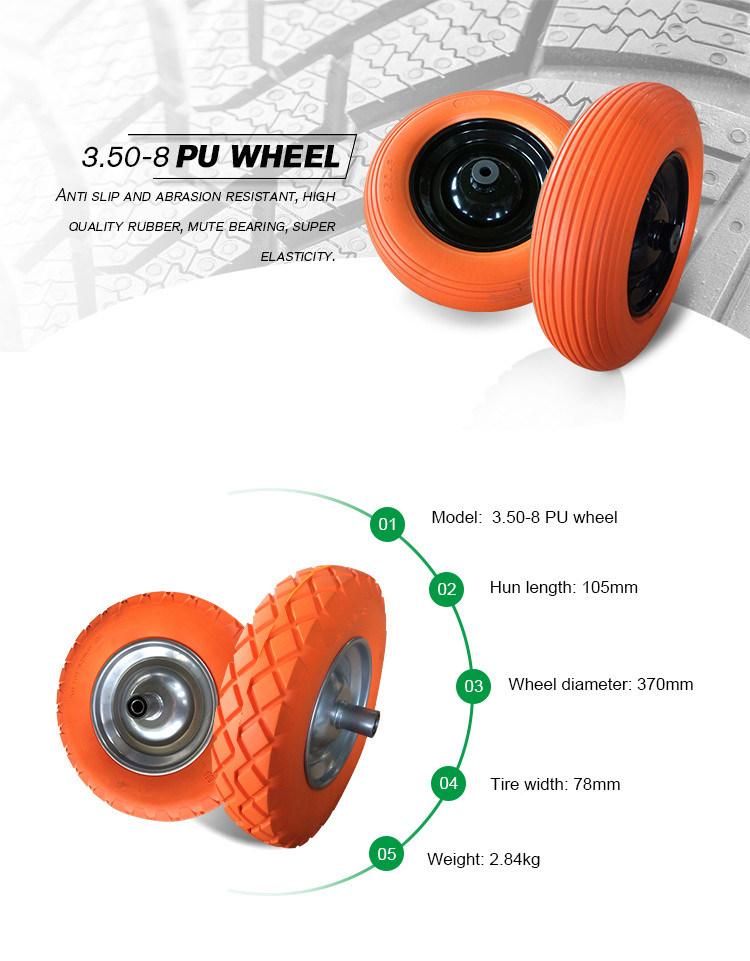 Chinese Supply 14 Inch 3.50-8 PU Foam Wheels for Beach Trailer
