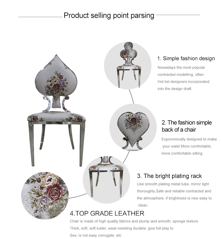 European Style Villa Residential Furniture Dining Chair of Stainless Steel Poker Creative Combination
