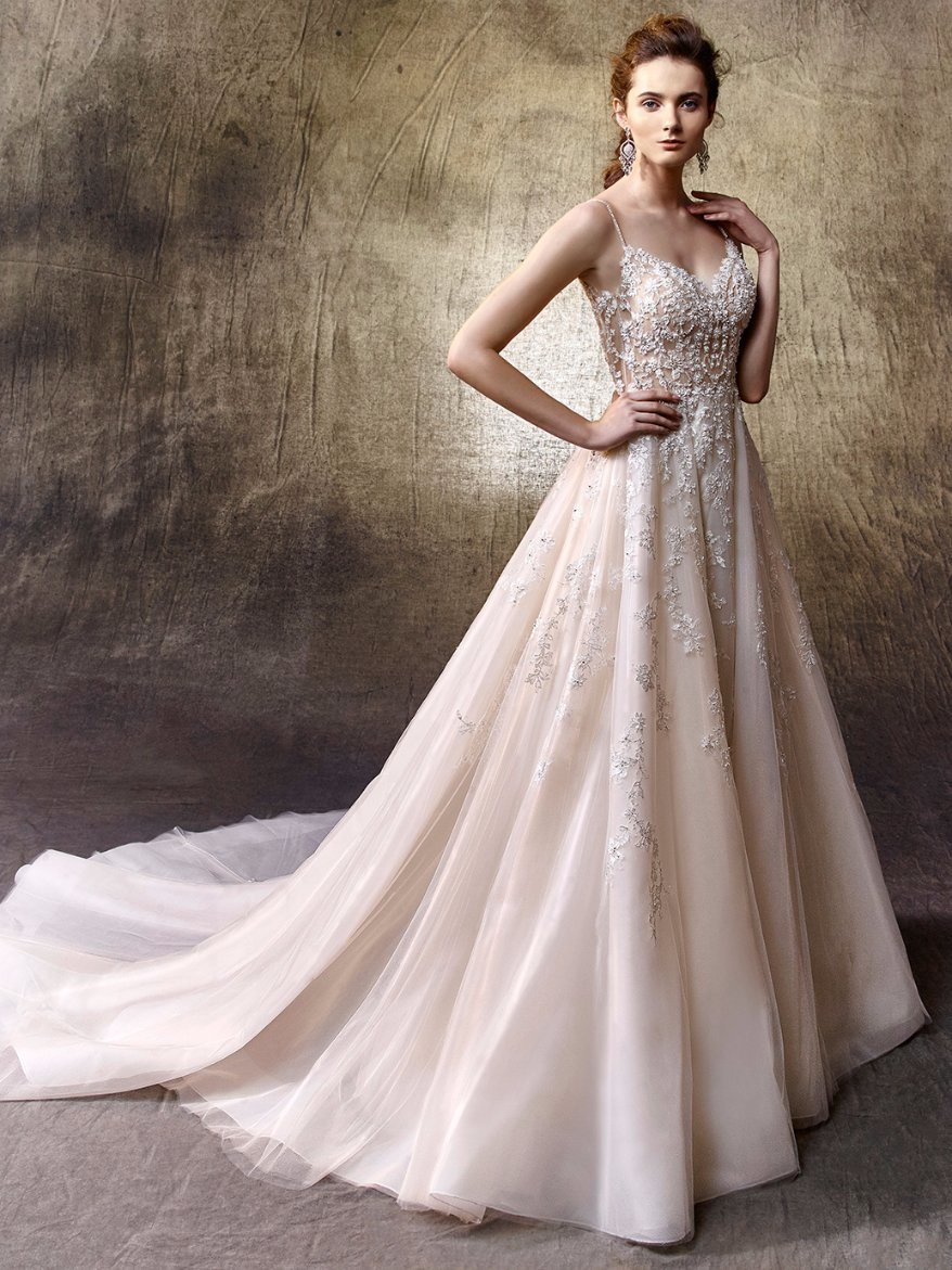 Spaghetti Lace Beading A Line Beach Wedding Dress Customa Made