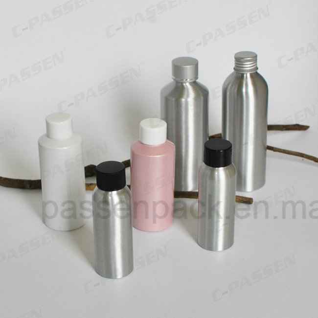 Cosmetic Aluminum Lotion Bottle with Golden/Silver Lotion Pump (PPC-ACB-002)