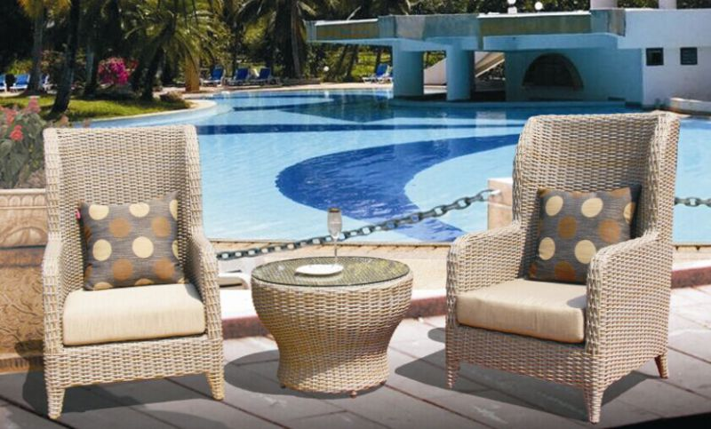 High Back Hotel Lobby Rattan Wicker Leisure Chair Brown 2+1 Pieces for Hotel Lobby Cafe Shop