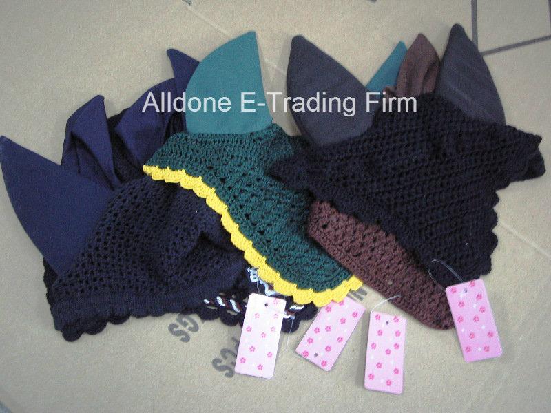 Hand Crochet Horse Fly Mask Veils Pet Ear Bonnet