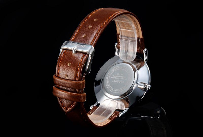 Slier Wristwatch Leather Strap Watch for Unisex