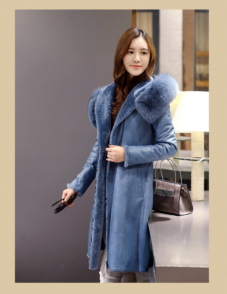 Lady's Hooded Shearling and Lamb Leather Coat Long Style