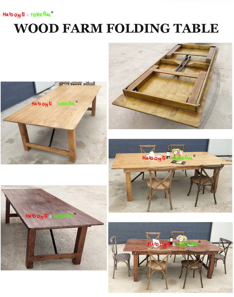 Solid Wood Garden Camping Furniture Wedding Party Dining Table