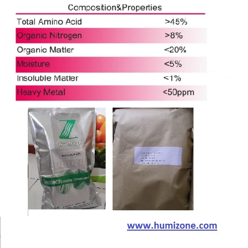 Amino Acid Organic Fertilizer: Humizone Vegetal 45% Powder Amino Acid (VAA45-P)