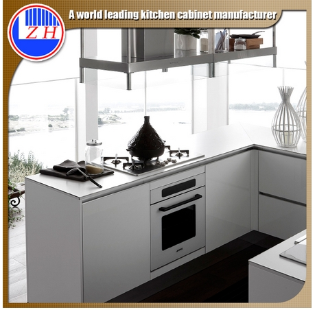 Glossy Modular Fiber Kitchen Furniture with Assembled Packing