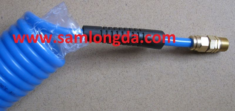 Pneumatic PU Spiral Hose with Swivel Coupler & Protect Sleeve
