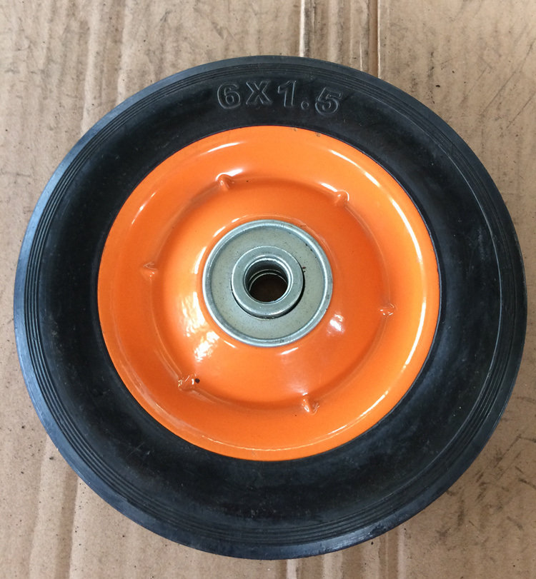 6 Inch Rubber Solid Wheel Steel Rim for Hand Trolly