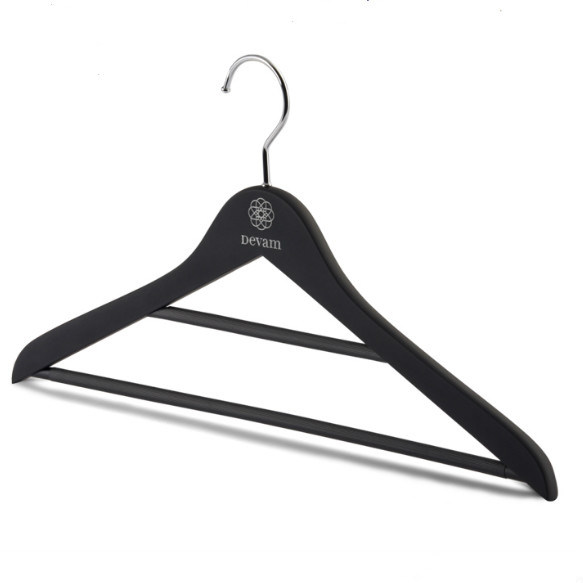 Best Quality Black Felt Wooden Hanger with Double Bars for Sale