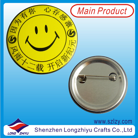 Smile Face Button Pins Tinplate Badge with Custom Design Available