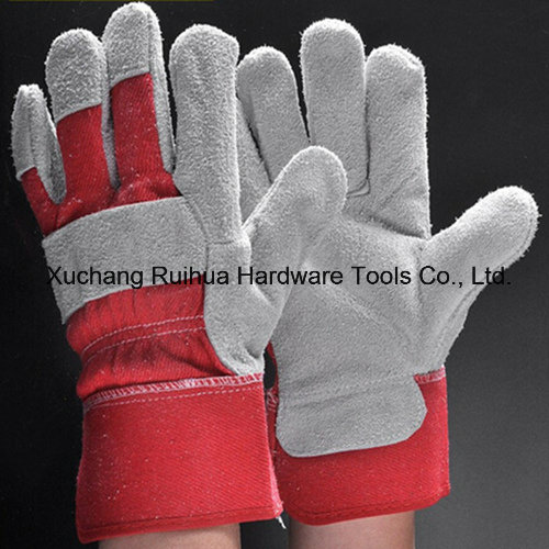 Industry Short Cowhide Leather Working Gloves,Safety Working Gloves,10.5''patched Palm Leather Gloves,Cow Split Leather Full Palm Working Glove,Driver Gloves