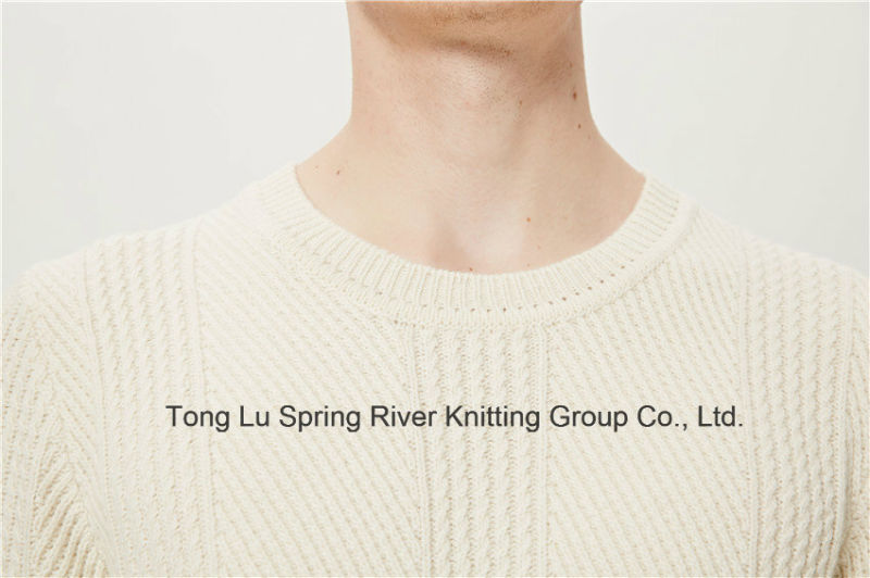 Leather Lamb Wool Nylon Round Neck Men Knit Sweater