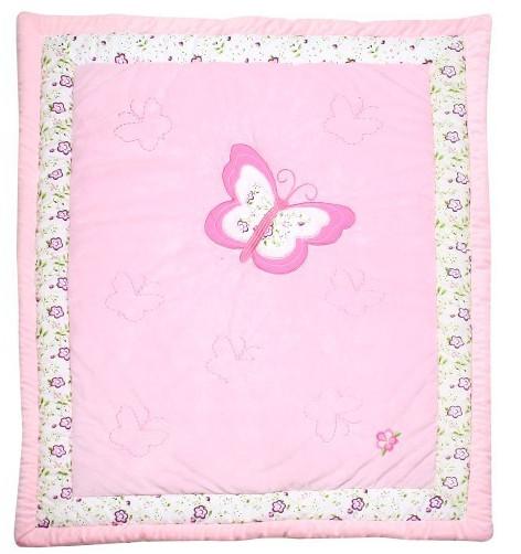 Satin Patchwork Quilt in Pink Deer Super Lovely for Girls for Crib Cot