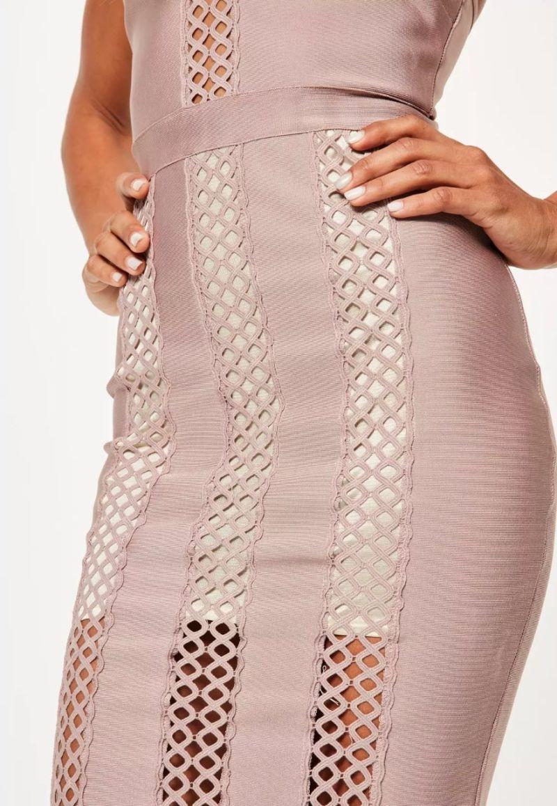 Purple Bandage and Lace Insert MIDI Dress