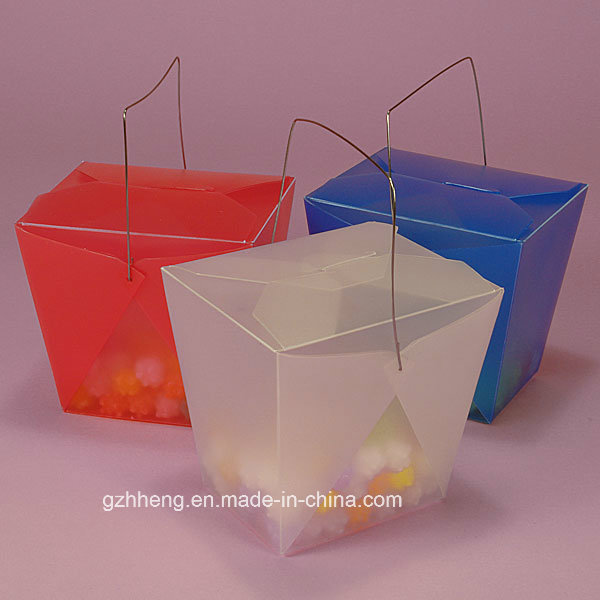 High quality plastic gift box with handle (PVC handle box)