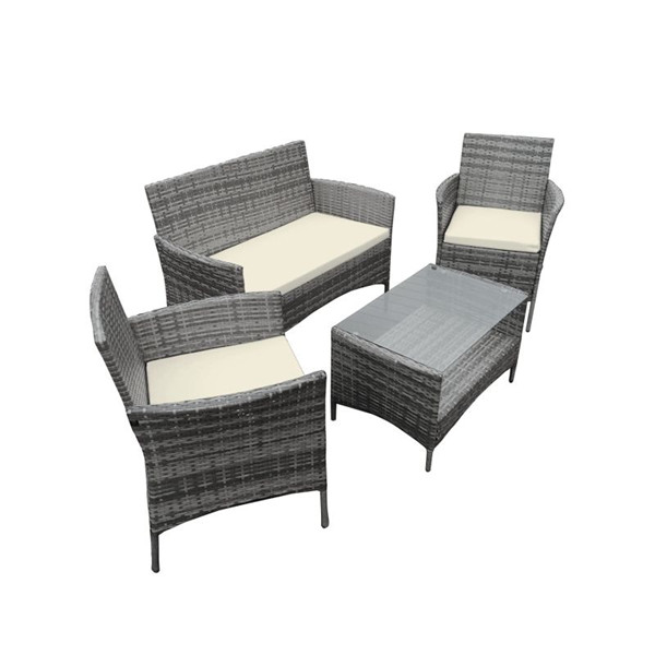 Grey 4PCS Rattan Garden Outdoor Table Set