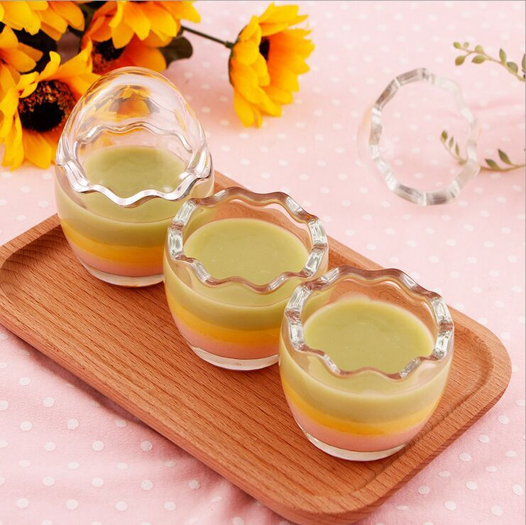 Transparent Milk Glass Bottle Juice Bottle Pudding Jar with Plastic Lid