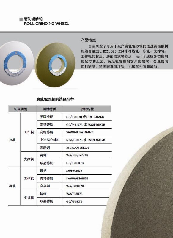 Roll Grinding Wheels, Bonded Abrasives