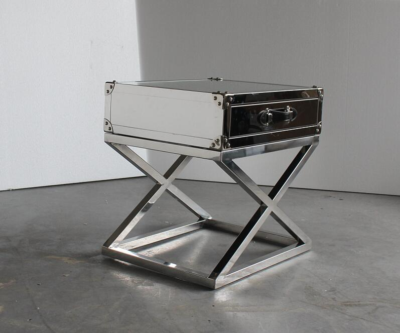 Cross Stainless Steel Base Small Coffee Table Corner Table Bedside Table