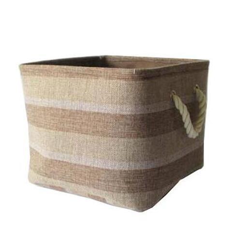 Stripe Canvas Storage Shopping Laundry Basket