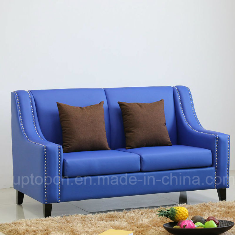 Wholesale Beautiful Royal Blue Sofa with Double Seat and PU Leather for Restaurant (SP-KS350)