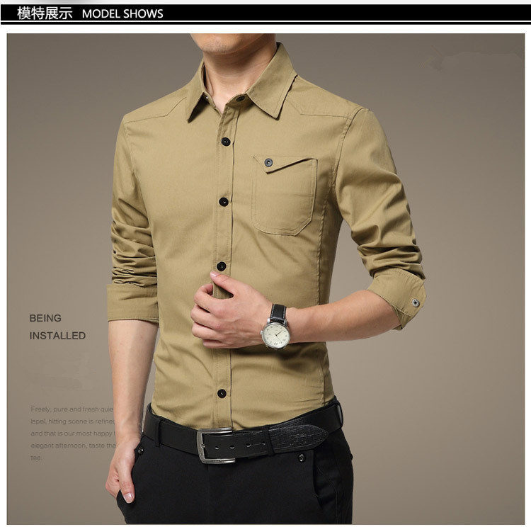 High Quality Men's Long Sleeve Men in Military Uniform Style Casual Shirt