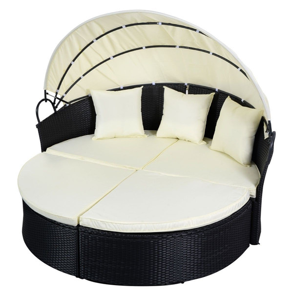 Black Outdoor Round Patio Rattan Sofa Furniture