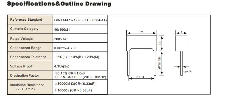 Yellow 0.033UF 275VAC X2 Metallized Polypropylene Film Capacitor Tmcf18-2 for Power Switch