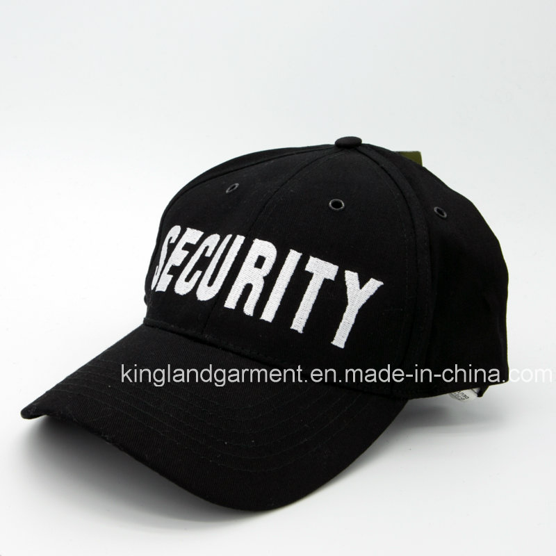 Cotton Drill Military Black Security Embroidery Baseball Cap