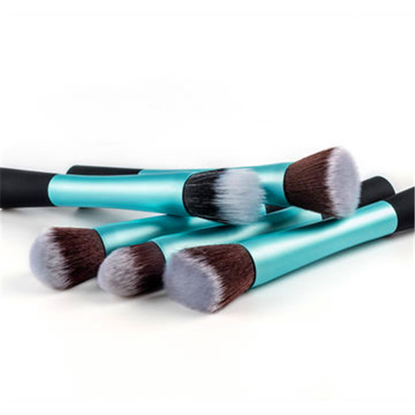 5PCS Metal Tube Synthetic Hair New Style Flat Kabuki Brush