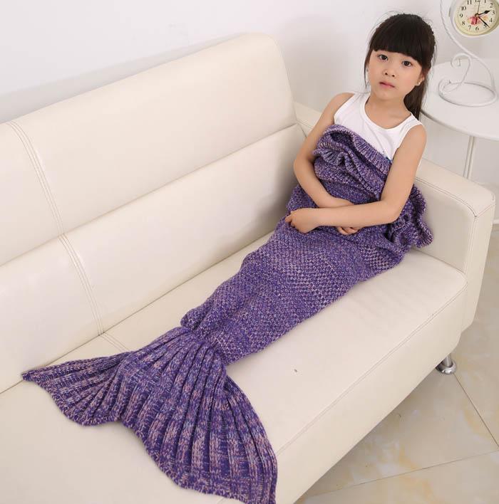 Shine Peak 2016 New Hot Children Yarn Knitted Mermaid Tail Blanket Handmade Crochet Mermaid Blanket Throw Bed Sofa Wrap Sleeping Bag