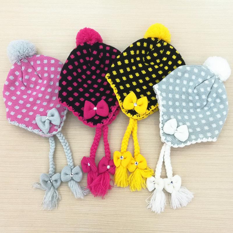 Baby Kids Children Girls Winter Warm Knitted Outdoor Earflap Ear Warmer Ski Aviator Hat (HW639)