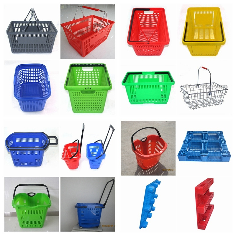 2013 New Type Four Wheel Hdpp Plastic Shopping Basket with Wheels (YD-B6)