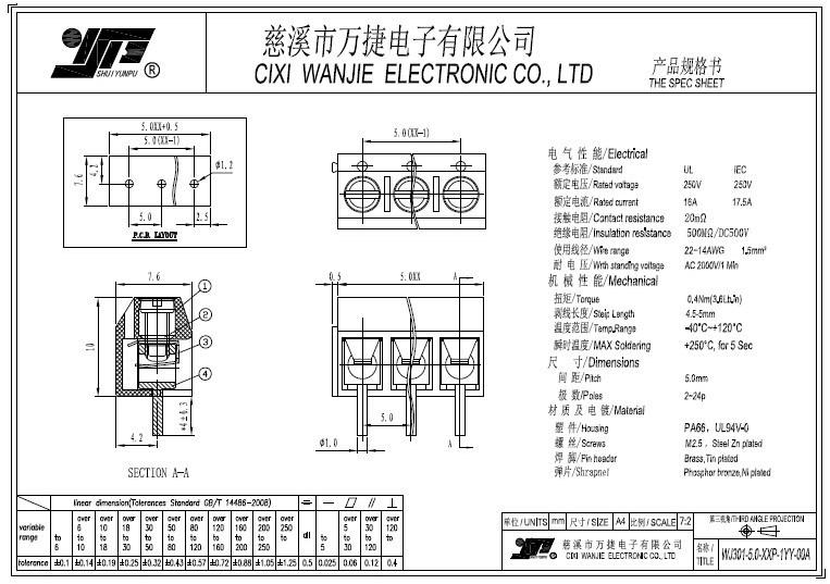 Best-Selling PCB Screw Terminal Block (WJ301-5.0/10.0mm)