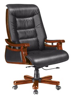 Wooden Genuine Leather Office Executive Boss Manager Chair (HF-BLA95)