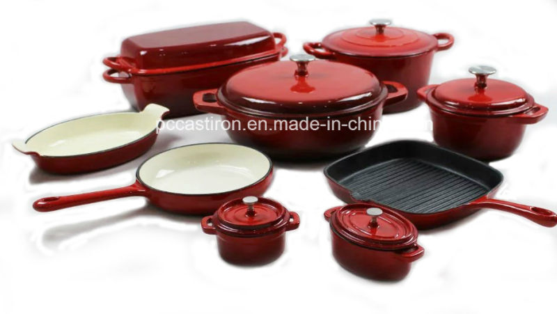 4PCS Cast Iron Cookware Set in Enamel Coating