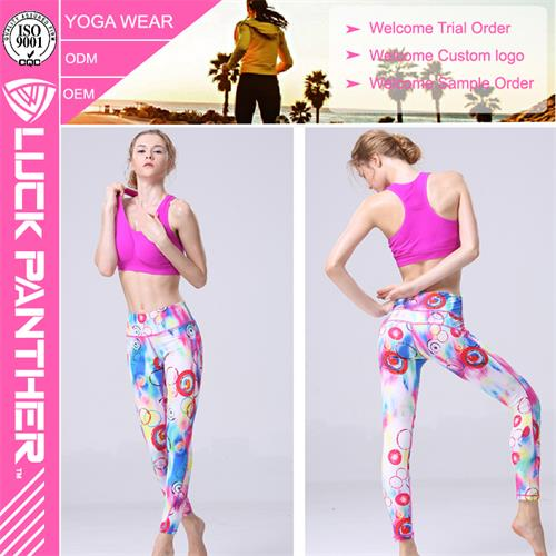 Wholesale Soft Stretched Anti-UV Sublimation Printed Yoga Tights for Women