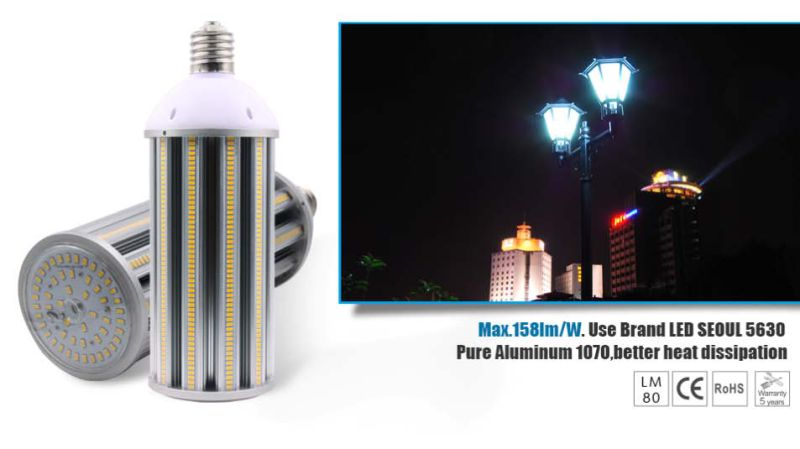 158lm/W IP64 Seoul 5630 100W LED Corn Light with UL TUV Ce RoHS 5 Warranty Years