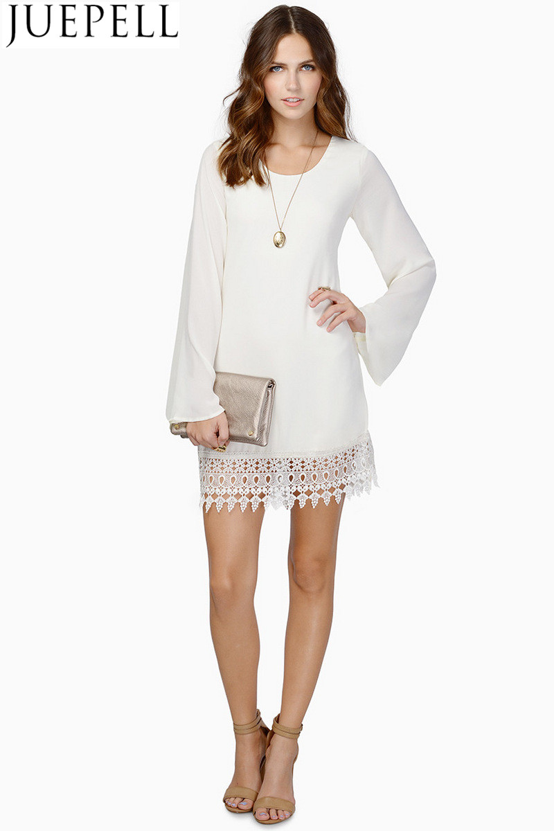 Women Explosion Models Lace Long-Sleeved Dress Hem Stitching Chiffon Dress Lady Dresses