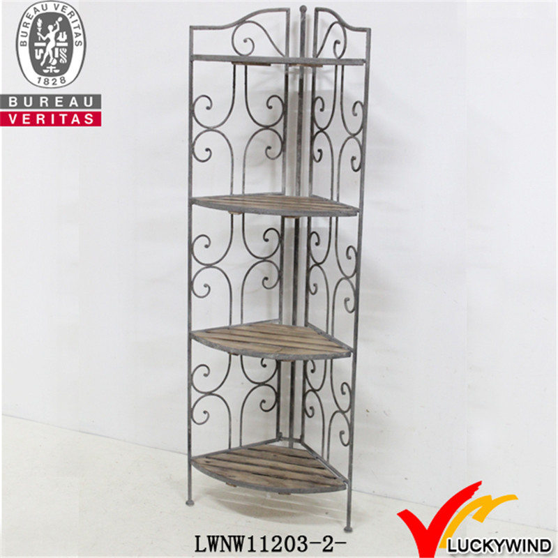 Metal & Wood Foldable Corner Rack