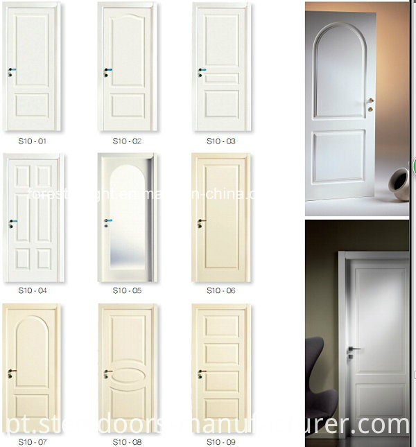 Elegant White Painted Carving MDF Door