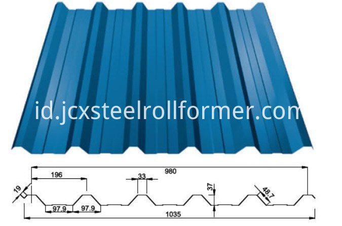 Formasi Mesin Roll Forming Mesin-Roof Trapezoidal