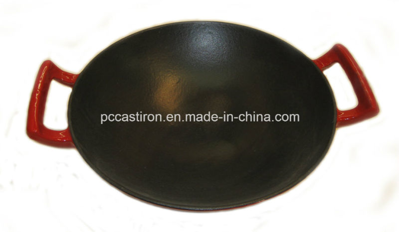 Enamel Cast Iron Wok with Stainless Steel Cover Dia 36cm