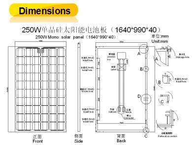 250W Mono Solar Panel with High Efficiency (ODA250-30-M)