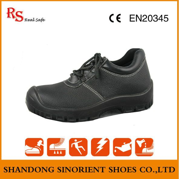 Ce Certificate Black Buffalo Leather ESD Chef Safety Shoes RS046