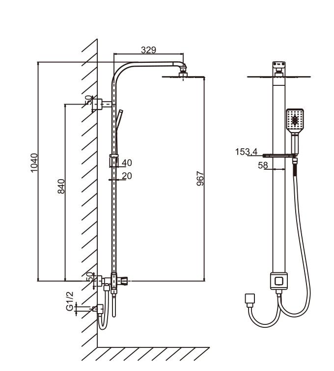 Australian Design Watermark&Wels Approved Square Bathroom Shower Set (D10223YC)