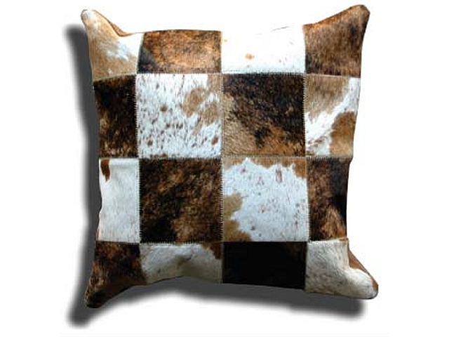 Natural Leather Cowhide Patch Pillows