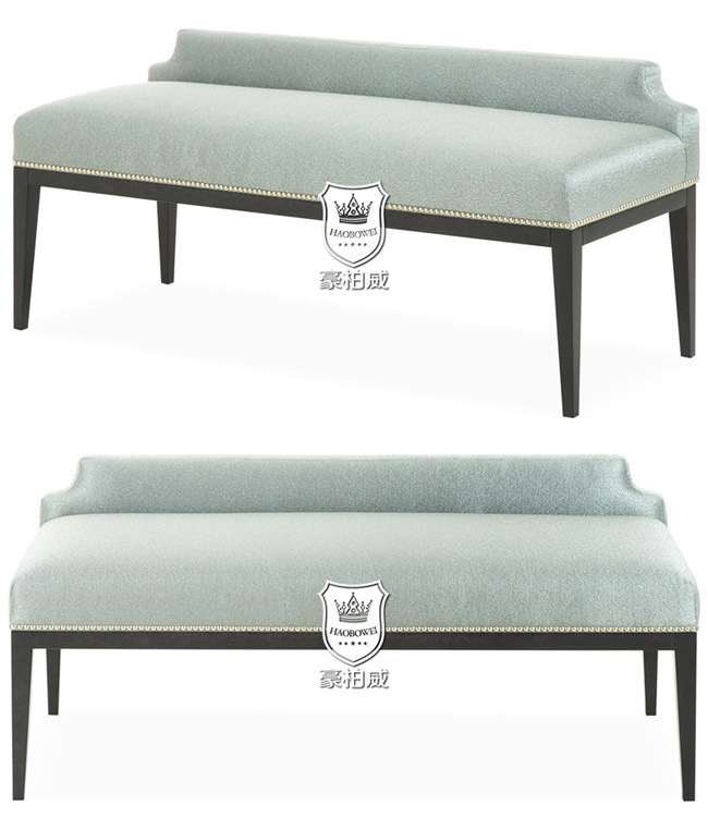 Polished Solid Wood Bed Bench with Fabric Upholstery