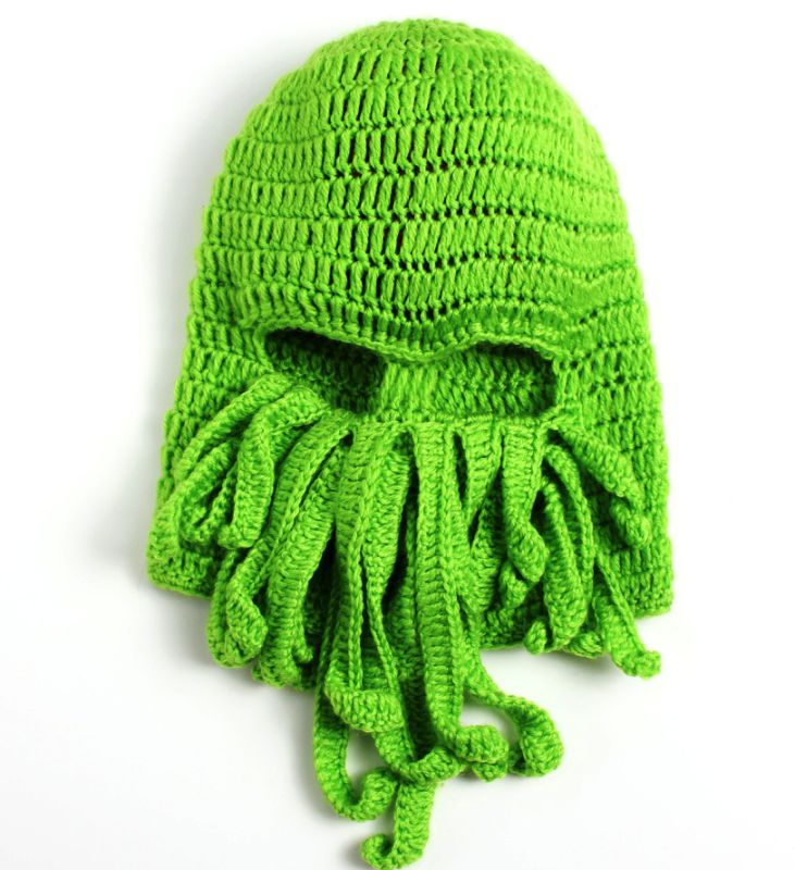Unique Octopus Mask Hand Made Knitting Knitted Winter Hat